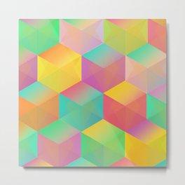 Rainbow Cubes (Vibrant Transparent Hexagon) Metal Print