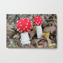 Knitted Fly Agaric Toadstool Metal Print