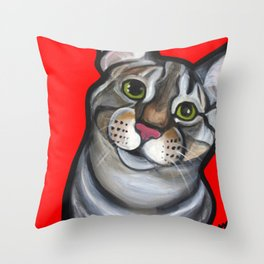 Lola the tabby Throw Pillow