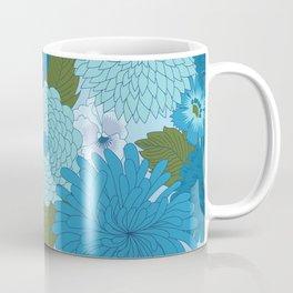 Retro Blue Floral Pattern Coffee Mug