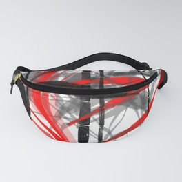 red black grey silver white bamboo abstract digital painting Fanny Pack