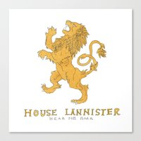 lannister Canvas Prints featuring House Lannister- Game of Thrones by 366Sketchbook