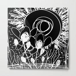 Scribble Doodle Flowers No.4B by Kathy Morton Stanion Metal Print