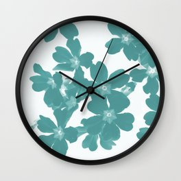 Floral Teal Wall Clock