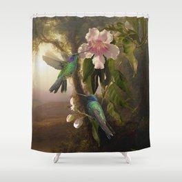 Sparkling Violetear Hummingbirds Shower Curtain