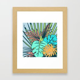 Tropical leaves blue Framed Art Print