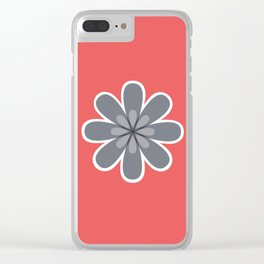 Symmetrical floral pattern, grey and coral red geometric flower Clear iPhone Case