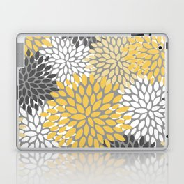 Modern Elegant Chic Floral Pattern, Soft Yellow, Gray, White Laptop & iPad Skin