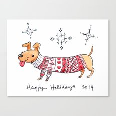 Holiday Card - Happy Hotdog Canvas Print