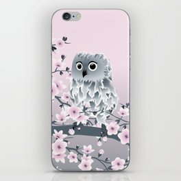 Cute Owl and Cherry Blossoms Pink Gray iPhone Skin