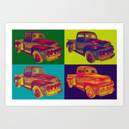 Colorful 1951 Ford F-1 Pickup Truck Pop Art  Art Print
