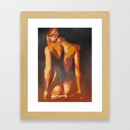 Beautiful Young Woman Wearing Plaits and Panties (Neutral) Framed Art Print