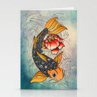 koi Stationery Cards featuring Koi by Tuky Waingan
