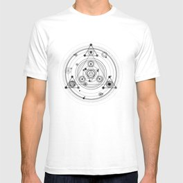 Sacred geometry and geometric alchemy design T-shirt