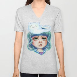 Thinking of Mew :: Little Girl and Cat Ghost Unisex V-Neck