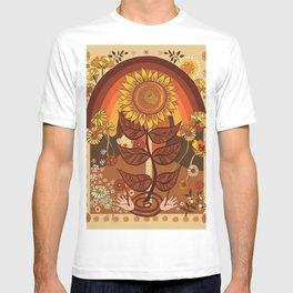 70s, Sunflower, retro, rainbow, warm colors, 60s, boho T-shirt