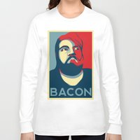 bacon Long Sleeve T-shirts featuring BACON by MezmoreyezGaming