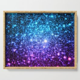 Glitter Galaxy Stars : Turquoise Blue Purple Hot Pink Ombre Serving Tray