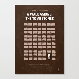 No341 My WALK AMONG THE TOMBSTONES minimal movie poster Canvas Print