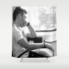 Man by The Window Shower Curtain