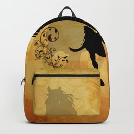 Wonderful black horse silhouette Backpack