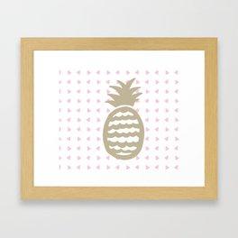 Golden pineapple pattern Framed Art Print