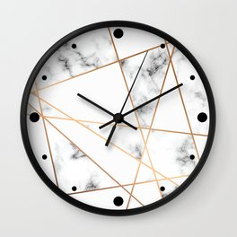 White, Gray, Gold Marble Geometric Pattern Wall Clock