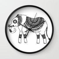 henna Wall Clocks featuring Henna Elephant by Julie Erin Designs
