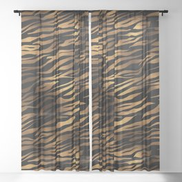 Gold and black metal tiger skin Sheer Curtain