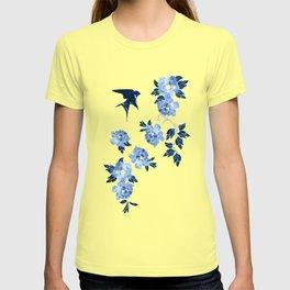 Oriental peonies in sapphire blue T-shirt