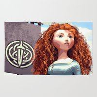 merida Area & Throw Rugs featuring Brave - Merida the Celtic Princess by Juniper Vinetree