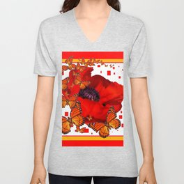 Decorative Red-Gold Monarch Butterflies Red Popppy Unisex V-Neck