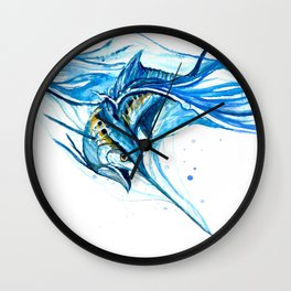 Watercolor Blue Marlin Wall Clock