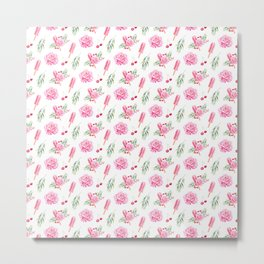 Tropical Chill Rose Pattern Metal Print