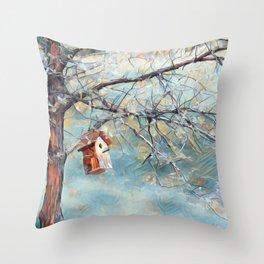 A Chickadees Home Throw Pillow