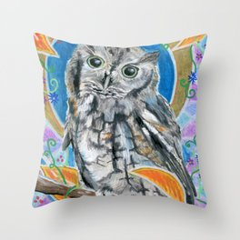 Autumn Screech Owl Throw Pillow