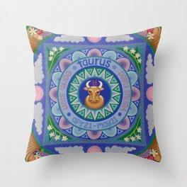 Taurus Mandala Throw Pillow