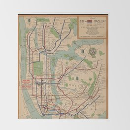 New York City Metro Subway System Map 1954 Throw Blanket