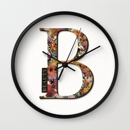 Floral monogram B - BEAUTY, Lo Lah Studio Wall Clock