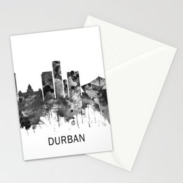 Durban South Africa Skyline BW Stationery Cards