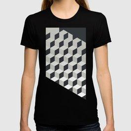 Gradient Cubes – Ebony Black / Warm Gray Abstract Print T-shirt