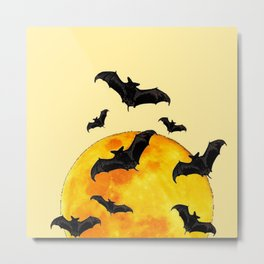 BLACK FLYING BATS FULL MOON ART Metal Print