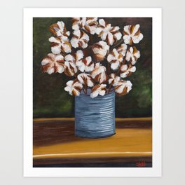 Bouquet of cotton in tin can Art Print