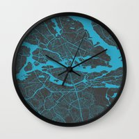 stockholm Wall Clocks featuring Stockholm Map by Map Map Maps