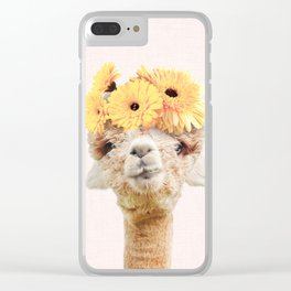Alpaca Flowers Clear iPhone Case