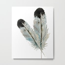 Fall feather -watercolor Metal Print