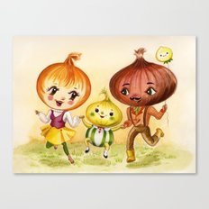 Kitschy Cute Onion Family Canvas Print