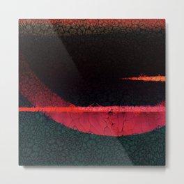 Textured Dark Red horizon Abstract Art Metal Print