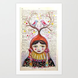 Birds and thoughts and love and magic Art Print