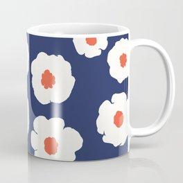 Minimal Floral Pattern Navy White Garden Coffee Mug